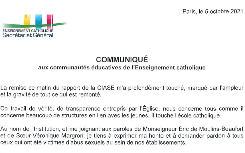 Communiqué du Secrétaire Général de l'Enseignement Catholique - CIASE